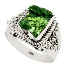 5.28cts natural moldavite (genuine czech) silver solitaire ring size 8 d47429