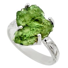 7.50cts natural moldavite (genuine czech) silver solitaire ring size 8 r29441