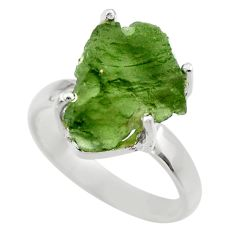6.98cts natural moldavite (genuine czech) silver solitaire ring size 8 r29442
