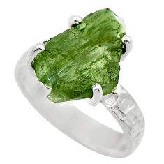 6.72cts natural moldavite (genuine czech) silver solitaire ring size 8 r29443