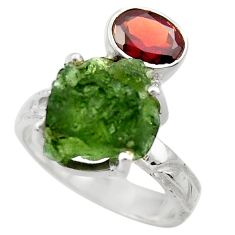 9.03cts natural moldavite (genuine czech) silver solitaire ring size 8 r29484