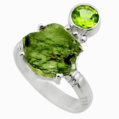 8.77cts natural moldavite (genuine czech) silver solitaire ring size 8 r29503