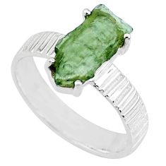 5.22cts natural moldavite (genuine czech) silver solitaire ring size 8 r71833