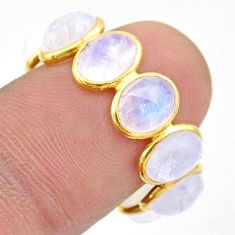 8.07cts natural moonstone 925 silver 14k gold eternity ring size 8 t44017