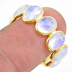 0.08cts natural moonstone 925 silver 14k gold eternity ring size 8 t44050