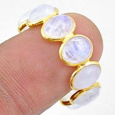 7.98cts natural moonstone 925 silver 14k gold eternity ring size 8 t44051