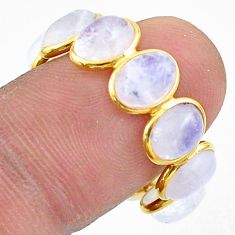 9.07cts natural moonstone 925 silver 14k gold eternity ring size 7.5 t44052