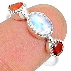 3.22cts natural moonstone cornelian (carnelian) 925 silver ring size 8 r68839