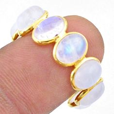 8.68cts natural moonstone oval 925 silver 14k gold eternity ring size 8 t44020