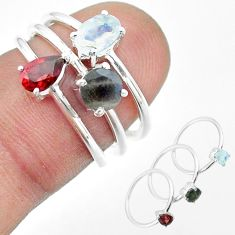 2.97cts natural moonstone oval labradorite garnet silver 3 rings size 6 t51147