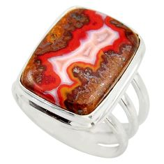 16.17cts natural moroccan seam agate 925 silver solitaire ring size 8.5 d47461