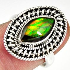 2.98cts natural multi color ammolite 925 silver solitaire ring size 7.5 r19231