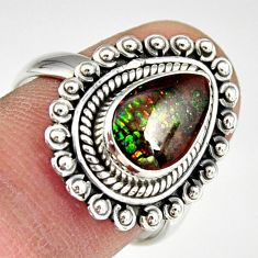 2.41cts natural multi color ammolite 925 silver solitaire ring size 7.5 r19240