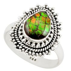 3.13cts natural multi color ammolite 925 silver solitaire ring size 7.5 r21455