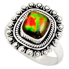 3.32cts natural multi color ammolite 925 silver solitaire ring size 7 r21456