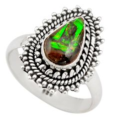 2.56cts natural multi color ammolite 925 silver solitaire ring size 7 r21459