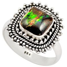 3.42cts natural multi color ammolite 925 silver solitaire ring size 8 r21451