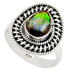 3.13cts natural multi color ammolite 925 silver solitaire ring size 8 r21453