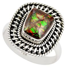 4.22cts natural multi color ammolite 925 silver solitaire ring size 8 r21454