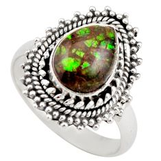 4.22cts natural multi color ammolite 925 silver solitaire ring size 8 r21458