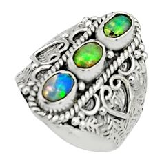 3.50cts natural multi color ethiopian opal 925 silver ring size 7.5 r22513