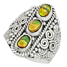 3.53cts natural multi color ethiopian opal 925 silver ring size 7.5 r22514