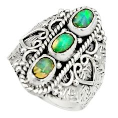 3.50cts natural multi color ethiopian opal 925 silver ring size 7.5 r22515