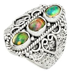 3.31cts natural multi color ethiopian opal 925 silver ring size 7.5 r22517