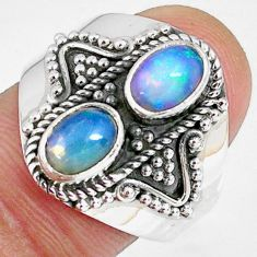 3.11cts natural multi color ethiopian opal 925 silver ring size 8.5 r59262
