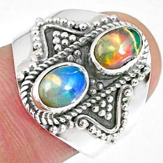 3.14cts natural multi color ethiopian opal 925 silver ring size 7.5 r59265
