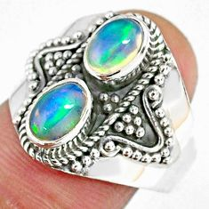 3.25cts natural multi color ethiopian opal 925 silver ring size 8.5 r59272