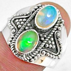 3.18cts natural multi color ethiopian opal 925 silver ring size 7.5 r59276