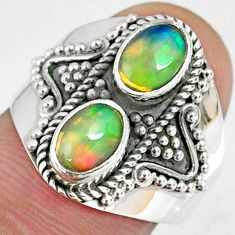 3.09cts natural multi color ethiopian opal 925 silver ring size 7.5 r59277