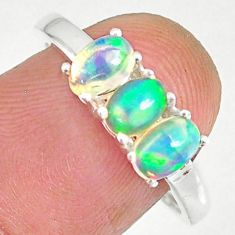 2.51cts natural multi color ethiopian opal 925 silver ring size 8.5 r83977
