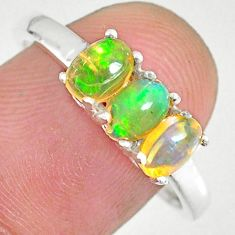 2.51cts natural multi color ethiopian opal 925 silver ring size 9.5 r83978