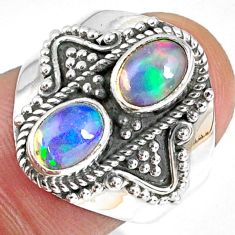 3.14cts natural multi color ethiopian opal 925 silver ring size 7 r59245