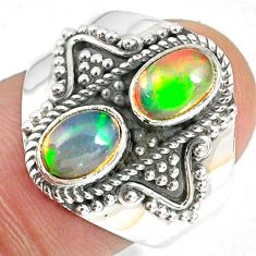 3.19cts natural multi color ethiopian opal 925 silver ring size 7 r59247