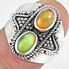 3.19cts natural multi color ethiopian opal 925 silver ring size 7 r59271