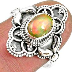 2.19cts natural multi color ethiopian opal 925 silver ring size 7 r61141