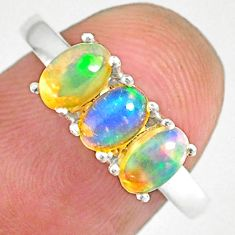 2.72cts natural multi color ethiopian opal 925 silver ring size 7 r83980