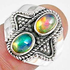 3.13cts natural multi color ethiopian opal 925 silver ring size 8 r59268