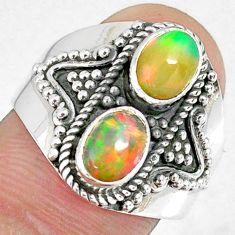 3.24cts natural multi color ethiopian opal 925 silver ring size 8 r59269