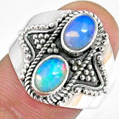 3.09cts natural multi color ethiopian opal 925 silver ring size 9 r59273