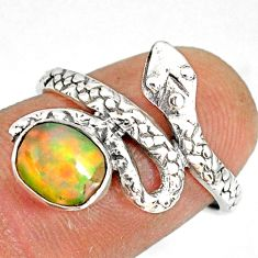 2.19cts natural multi color ethiopian opal 925 silver snake ring size 7.5 r78753