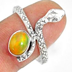 1.96cts natural multi color ethiopian opal 925 silver snake ring size 9.5 r78769
