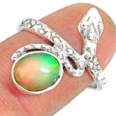 3.29cts natural multi color ethiopian opal 925 silver snake ring size 7.5 r78774