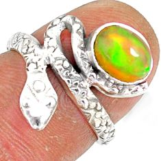 1.96cts natural multi color ethiopian opal 925 silver snake ring size 5.5 r78778