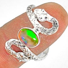 2.01cts natural multi color ethiopian opal 925 silver snake ring size 10 r78798