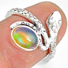 1.96cts natural multi color ethiopian opal 925 silver snake ring size 7 r78741