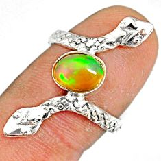 2.08cts natural multi color ethiopian opal 925 silver snake ring size 7 r78799
